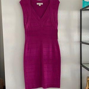 Purple knit bandage dress